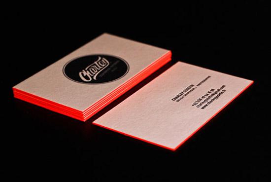 bright orange letterpress business cards